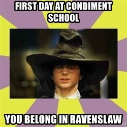 Harry Potter Sorting Hat - First day at condiment school You belong in ravenslaw