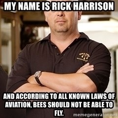 Rick Harrison - My name is rick harrison and according to all known laws of aviation, bees should not be able to fly.