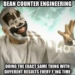 Insane Clown Posse - bean counter engineering doing the exact same thing with different results every f*ing time
