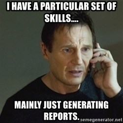 taken meme - I have a particular set of skills.... mainly just generating reports.