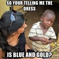 skeptical black kid - so your telling me the dress is blue and gold?