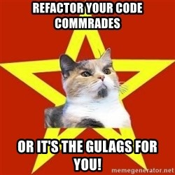 Lenin Cat Red - refactor your code commrades or it's the gulags for you!