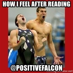 Ecstatic Michael Phelps - How I feel after reading @positivefalcon