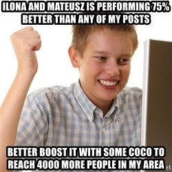 Noob kid - ilona and mateusz is performing 75% better than any of my posts better boost it with some coco to reach 4000 more people in my area