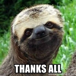 Sarcastic Sloth -  THANKS ALL