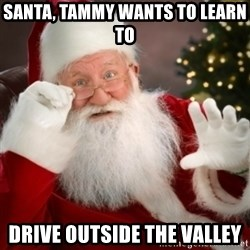 Santa claus - Santa, Tammy wants to learn to drive outside the valley