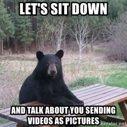 Patient Bear - Let's sit down And talk about you sending videos as pictures