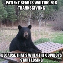 Patient Bear - Patient bear is waiting for Thanksgiviing Because that's when the cowboys start losing