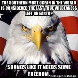 Freedom Eagle  - The southern most ocean in the world is considered the last true wilderness left on Earth? Sounds like it needs some freedom.