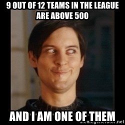 Tobey_Maguire - 9 out of 12 teams in the league are above 500 and i am one of them