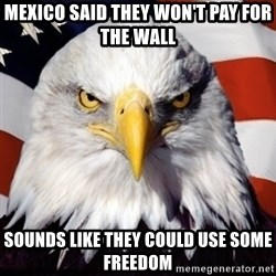 Freedom Eagle  - Mexico said they won't pay for the wall Sounds like they could use some Freedom