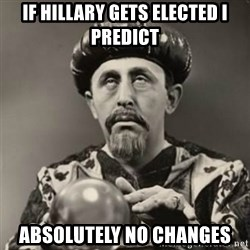 Dramatic Fortune Teller - if hillary gets elected i predict absolutely no changes