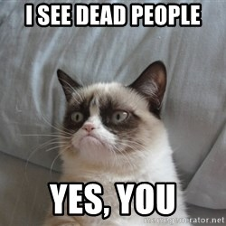 Grumpy cat 5 - I see dead people Yes, you