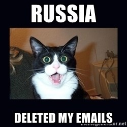 shocked cat - Russia Deleted my emails