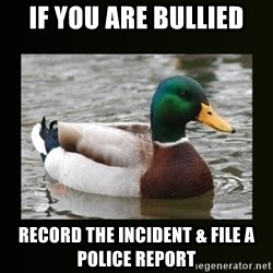 good advice duck - If you are bullied Record the incident & file a police report