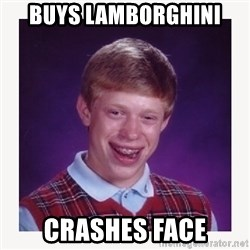 nerdy kid lolz - BUYS LAMBORGHINI CRASHES FACE