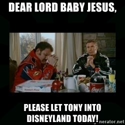 Dear lord baby jesus - Dear Lord Baby Jesus, Please let Tony into Disneyland today!