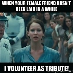 I volunteer as tribute Katniss - WHEN YOUR FEMALE FRIEND HASN'T BEEN LAID IN A WHILE I VOLUNTEER AS TRIBUTE!