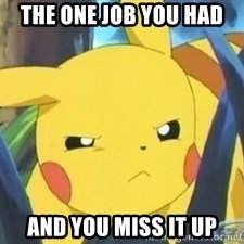 Unimpressed Pikachu - the one job you had and you miss it up