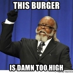 Too high - THIS BURGER IS DAMN TOO HIGH