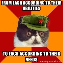 Communist Cat - from each according to their abilities to each according to their needs