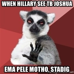 Chill Out Lemur - when hillary see TB JOSHUA ema pele motho, stadig