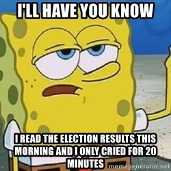Only Cried for 20 minutes Spongebob - I'll have you know I read the election results this morning and i only cried for 20 minutes