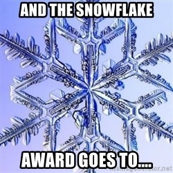 Special Snowflake meme - And the snowflake award goes to....