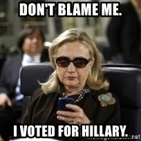 Hillary Text - don't blame me. i voted for hillary.