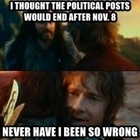 Never Have I Been So Wrong - I thought the political posts would end after Nov. 8 Never have I been so wrong