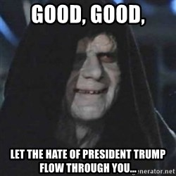 emperor palpatine good good - Good, Good, Let the hate of President Trump flow through you...