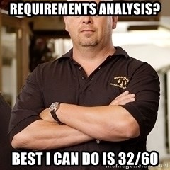 Rick Harrison - Requirements analysis? Best I can do is 32/60