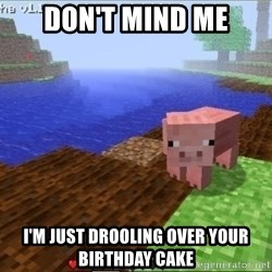 Minecraft PIG - Don't mind me I'm just drooling over your birthday cake
