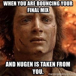 Frodo  - When you are bouncing your final mix and Nugen is taken from you.