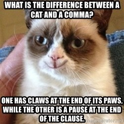 Grumpy Cat Happy Version - What is the difference between a cat and a comma? One has claws at the end of its paws, while the other is a pause at the end of the clause.