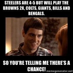 Lloyd-So you're saying there's a chance! - Steelers are 4-5 but will play the Browns 2x, Colts, Giants, Bills and Bengals. So You're telling me there's a chance!