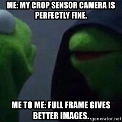 Evil kermit - Me: My crop sensor camera is perfectly fine. Me to me: Full frame gives better images.