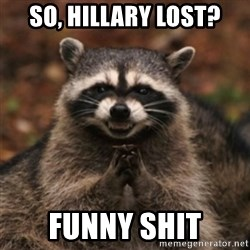 evil raccoon - So, Hillary lost? Funny shit