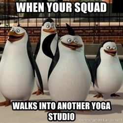 Madagascar Penguin - when your squad walks into another yoga studio