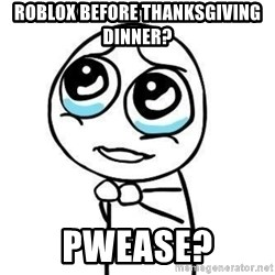 Please guy - Roblox before thanksgiving dinner? Pwease?