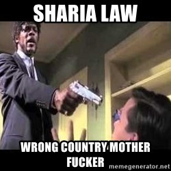Say what again - sharia law wrong country mother fucker