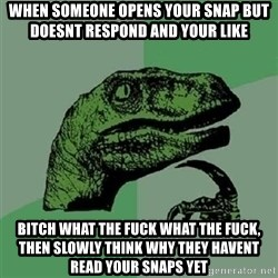 Velociraptor Xd - when someone opens your snap but doesnt respond and your like BITCH WHAT THE FUCK WHAT THE FUCK, then slowly think why they havent read your snaps yet