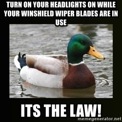 good advice duck - turn on your headlights on while your winshield wiper blades are in use its the law!