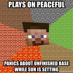 Minecraft Guy - Plays on peaceful  Panics about unfinished base while sun is setting