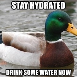 Actual Advice Mallard 1 - stay hydrated  drink some water now