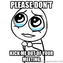 Please guy - Please don't kick me out of your meeting