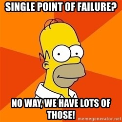 Homer Advice - single point of failure? no way, we have lots of those!