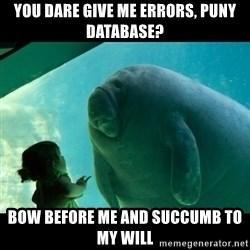 Overlord Manatee - You dare give me errors, puny database? Bow before me and succumb to my will