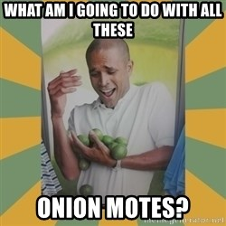 Why can't I hold all these limes - What am i going to do with all these onion motes?