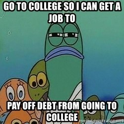 suspicious spongebob lifegaurd - go to college so i can get a job to pay off debt from going to college